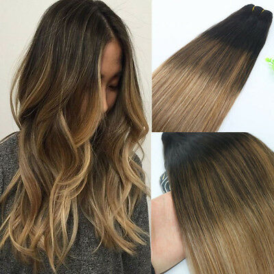 9A RUSSIAN 100g/120g Human Hair Extension 2#/6#/18# Ash Blonde Balayage Straight