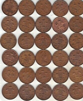 United Kingdom Lot Of 30 Two Pence Decimal Coins