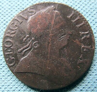 "1773 King George III British US Colonial Halfpenny - Non Regal ""Lanky Letters"""