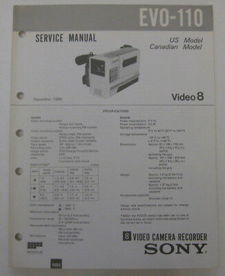 Service Manual For Sony EVO-110 8MM Camcorder