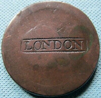 1797 King George III Great Britain Cartwheel Penny Copper Counterstamped LONDON