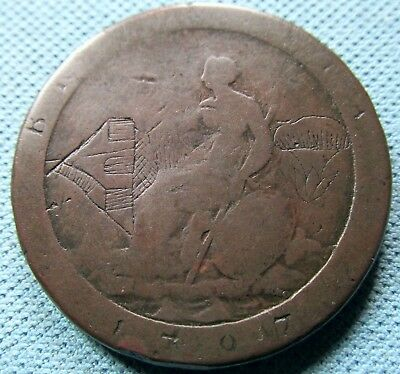 1797 King George III Cartwheel Penny Copper Etched Graffiti House Flowers Plants