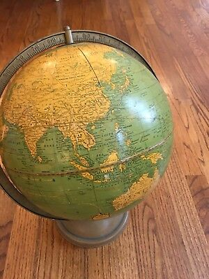 "Cram's Universal World & Terrestial Globe with brass bracket 12"" Vintage Aqua"