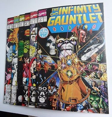 Infinity Gauntlet Set 1,2,3,4,5 & 6 + Infinity War 1 Signed by Ron Lim Unread