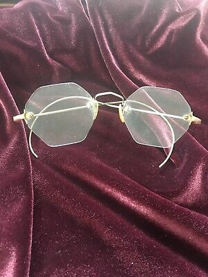 ANTIQUE RIMLESS OCTAGONAL GLASSES spectacles