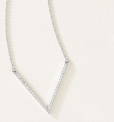 Diamond V Necklace 1/6 ctw 14kt yellow white or rose gold 16 18 inch adj chain