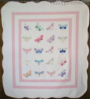 "Whimsical! Vintage 1930s Pink & White Applique Butterfly Quilt 81"" x 72"""
