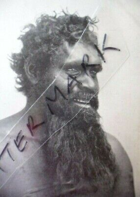 Vintage Photo Postcard Aboriginal Man With Long Beard And Initiation Body Scars