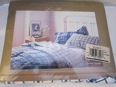 Vintage Bed Sheet Full Flat Lady Pepperell No Iron Muslin. Blue Square.  81x104