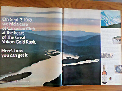 1969 Canadian Club Whiskey Ad  Hid a Case of Club in the Great Yukon Gold Rush