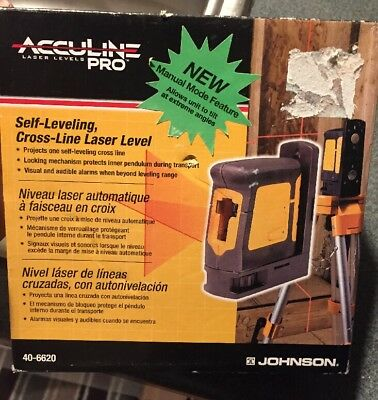 Acculine Pro 40-6620 Cross Laser Level Self Leveling Cross Line New Sealed
