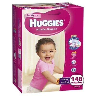 Huggies Toddler Nappies For Girls 10-15Kg 148 Ultra Dry Nappies