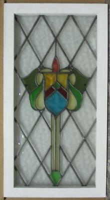"""LARGE OLD ENGLISH LEADED STAINED GLASS WINDOW Nice Elaborate Shield 18"""" x 33.5"""""""
