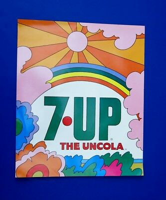 1970s ORIGINAL 7-UP THE UNCOLA DECAL STORE DISPLAY SIGN **PSYCHEDELIC POP ART**