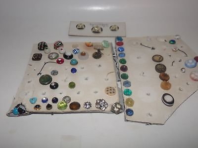60 ANTIQUE BUTTON COLLECTION-STENCIL-GLASS-VEGETABLE-MINIATURE-SEWING-1900s-NR(3