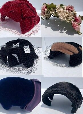 LOT OF 6 50's VINTAGE HATS Velvet Mink Flowers & Veils, Delma Clover Lane MORE