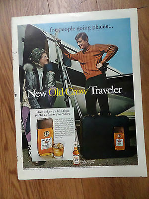 1968 New Old Crow Traveler Whiskey Ad   Skiing Theme