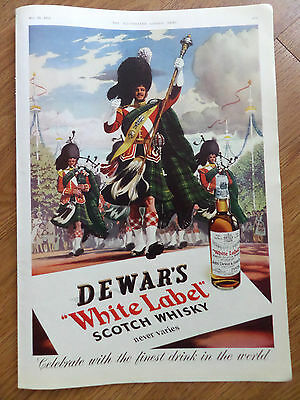 1953 Dewar's White Label Scotch Whiskey Ad Parade Marching Playing Bagpipes