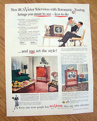 1953 RCA Victor TV Television Ad Rotomatic Tuning & you Set the Style