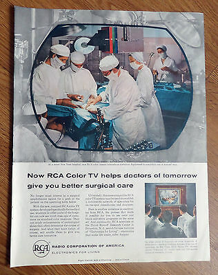 1956 RCA Radio Electronics Ad At a Noted New York Hospital Telecasts Operation
