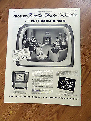1951 TV Television Ad  Family Theatre Television with  Full Room Vision