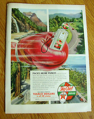 1954 Texaco Sky Chief Gasoline Ad  Packs more Punch!