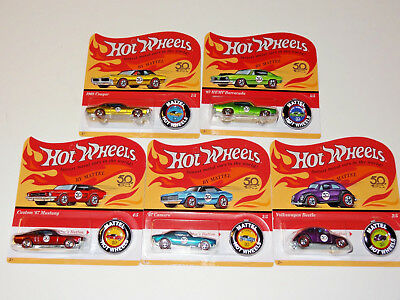 Hot Wheels 50Th Anniversary Redline With Button Ftx83-956A 5 Car Set Unpunched
