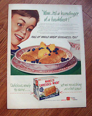 1945 Nabisco Shredded Wheat Cereal Ad WOW it's a Humdinger of a Breakfast