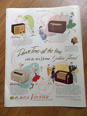 1948 RCA Victor Radios Ad  Shows 4 Models Dance Time all the Time