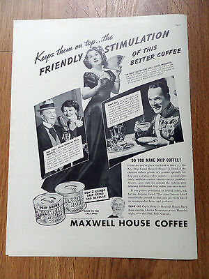 1949 Maxwell House Coffee Ad Movie Hollywood Stars Victor Moore Helen Broderick