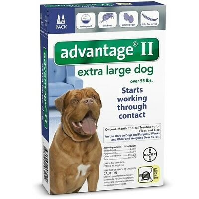 Advantage II For Extra Large Dogs Over 55 lbs 2 Month Supply, 2 Doses, AUTHEN