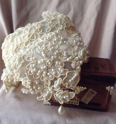 Vintage Antique Hand Beaded Pearl Wedding Headpiece Tiara Hand Made Lace Pearls