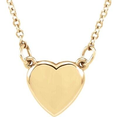 Heart Necklace 14Kt yellow white or rose gold 18 inch chain petite adult youth