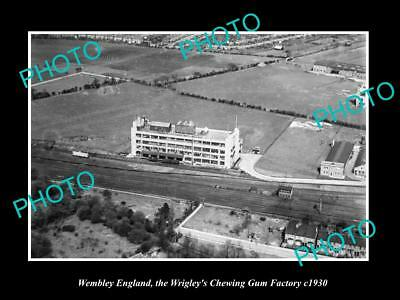 OLD LARGE HISTORIC PHOTO OF WEMBLEY ENGLAND, VIEW OF WRIGLEY CHEWING GUM Co 1930