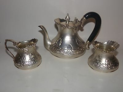 3 PC ANTIQUE SILVER TEA SET-POT-CREAMER-SUGAR-ETCHED FLOWERS-N SILVER-16 ozt-NR!
