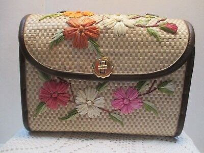 Straw Flowered Handbag Crafted In the Philippines For Bags By Whidby, Inc.