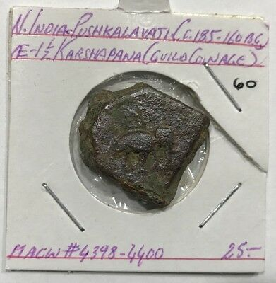 Ancient India Ca.185-160 BC Pushkalavati AE 1.5 Karshapana M.acw#-4398-4400
