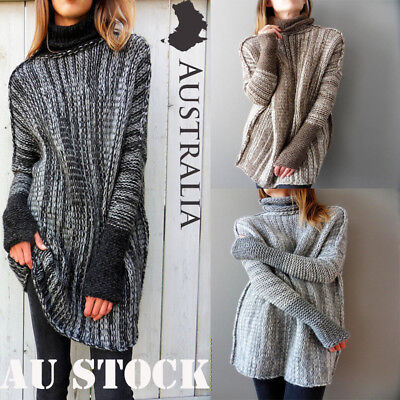 Oversized Womens Jumper Ladies Long Sleeve Chunky Knitted Long Sweater Tops AU