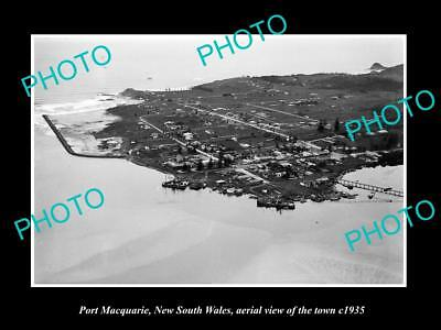 OLD LARGE HISTORIC PHOTO OF PORT MACQUARIE NSW, AERIAL VIEW OF THE TOWN c1935