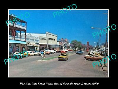 OLD LARGE HISTORIC PHOTO OF WEE WAA NSW, THE MAIN STREET & STORES c1970
