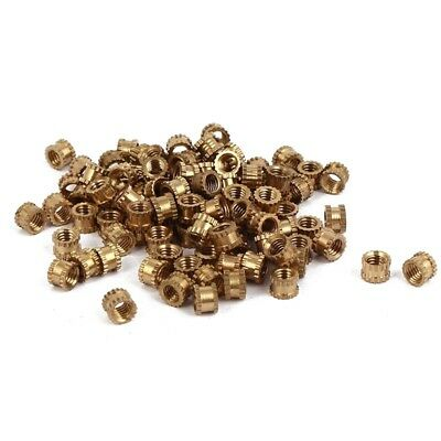 M3 x 3mm Female Thread Brass Knurled Threaded Insert Embedment Nuts 100PCS O8D7
