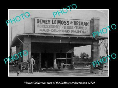 Old Large Historic Photo Of Winters California, The Le Moss Service Station 1920
