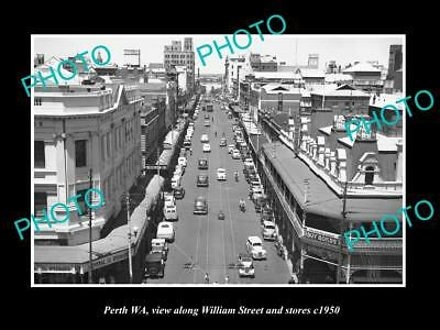 OLD LARGE HISTORIC PHOTO OF PERTH WEST AUSTRALIA, VIEW OF WILLIAMS STREET c1950
