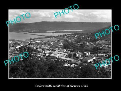 OLD LARGE HISTORIC PHOTO OF GOSFORD NSW, AERIAL VIEW OF THE TOWN c1960 2