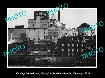 OLD LARGE HISTORIC PHOTO OF READING PENNSYLVANIA THE SUNSHINE BREWERY Co c1950