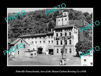 OLD LARGE HISTORIC PHOTO OF POTTSVILLE PENNSYLVANIA, THE MT CARBON BREWERY c1930