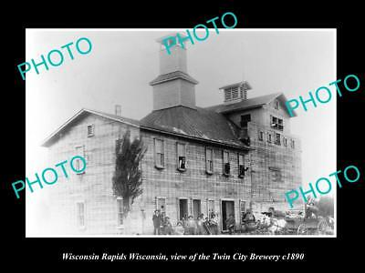 OLD LARGE HISTORIC PHOTO OF WISCONSIN RAPIDS WI, THE TWIN CITY BREWERY c1890