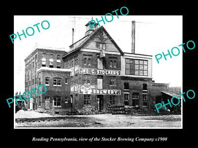 OLD LARGE HISTORIC PHOTO OF READING PENNSYLVANIA THE STOCKERS BREWERY c1900