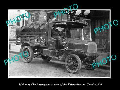 OLD HISTORIC PHOTO OF MAHANOY CITY PENNSYLVANIA, THE KAIERS BEER TRUCK c1920