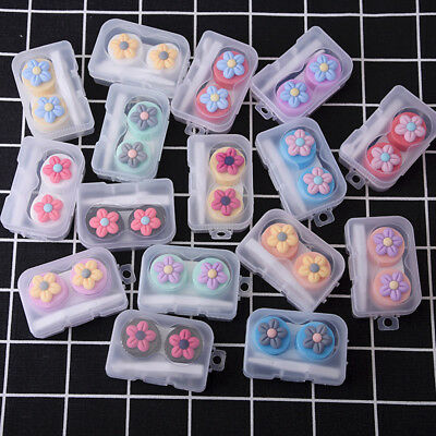 Contact Lens Box Flower Objectives Travel Portable Case Storage Container Lovely